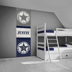 Muursticker paneel stoere ster stoer jongenskamer idee - Blauwe en grijze jongens kamer ...