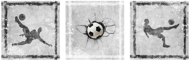 Muursticker voetbal 3luik